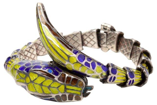Silver & Enamel Italian Snake Bracelet