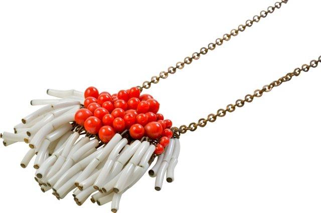 1930s Orange & White Glass Necklace