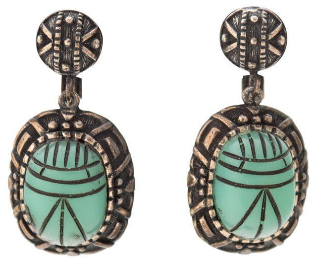 Hobé Scarab Pendant Brooch & Earrings