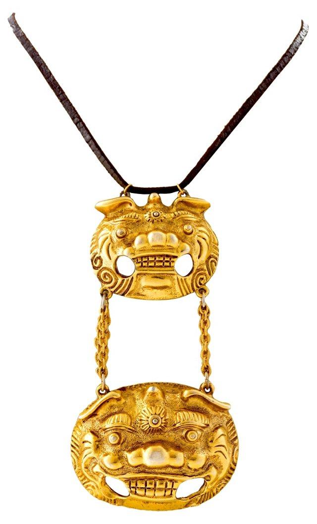Foo Dog Gilt Pendant Necklace