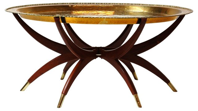 1960s Brass Tray Table