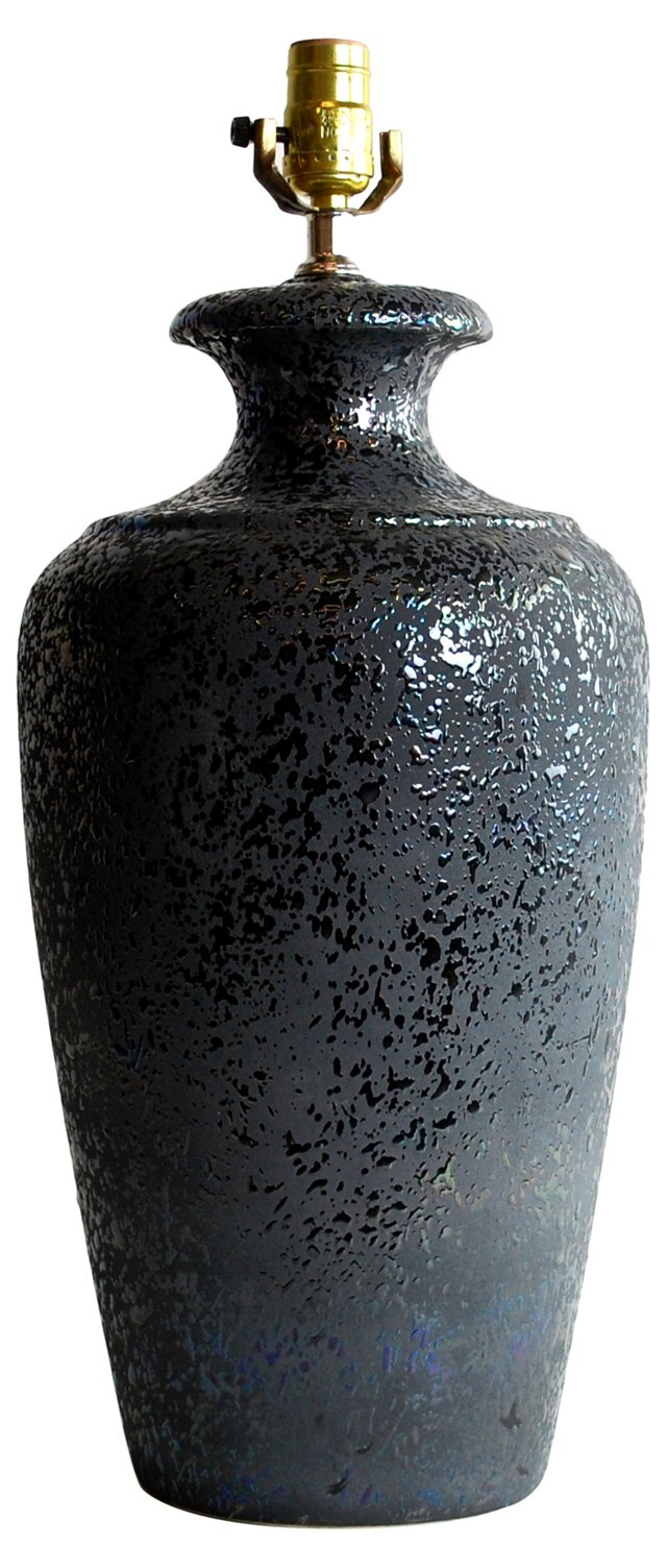 Irridescent Black Pottery Lamp