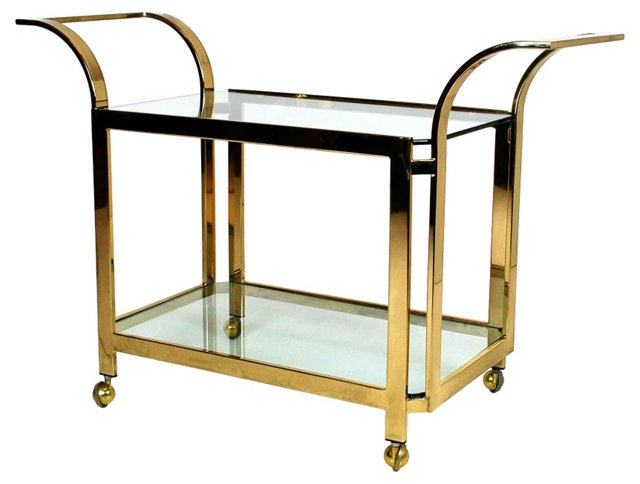 1970s Brass &   Glass Bar Cart