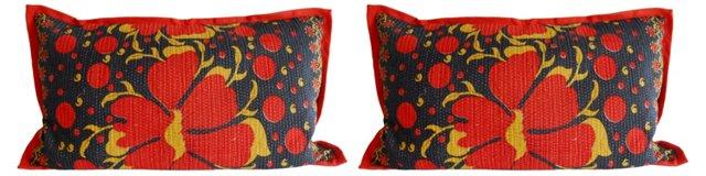Kantha Pillows, King Size, Pair