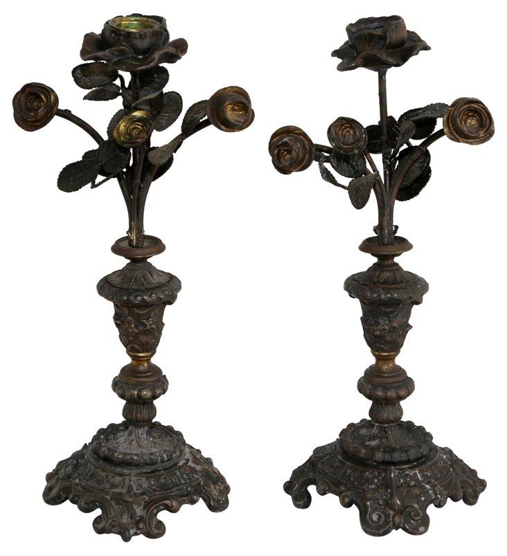 Bronze Flower Candleholders, Pair