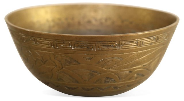 Hand-Tooled Asian Brass Bowl