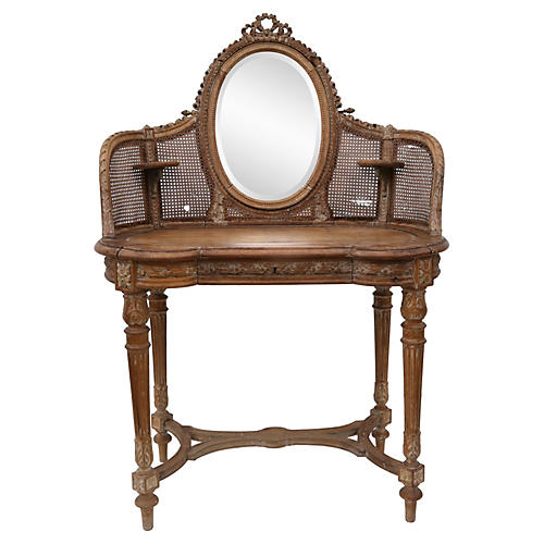 Antique Country French Caned Vanity