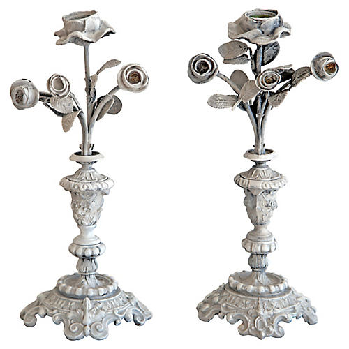 Antique Painted Flower Candlesticks, S/2