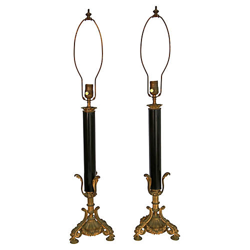 French Bronze Column Lamps, Pair