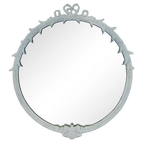 Round White Framed Mirror/ Ribbons & Bow