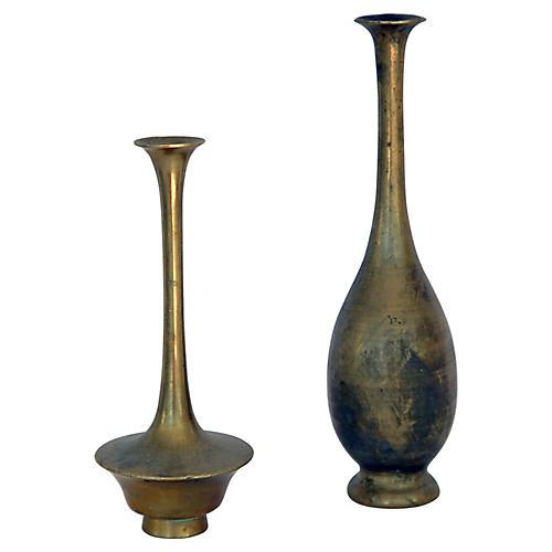 Miniature Asian Brass Bud Vases, S/2