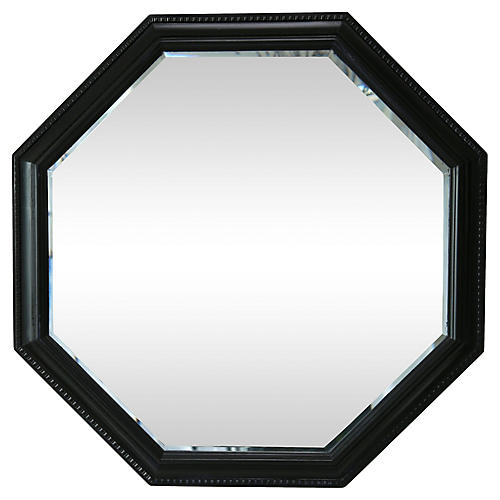 Ebonized Octagonal Beveled Mirror