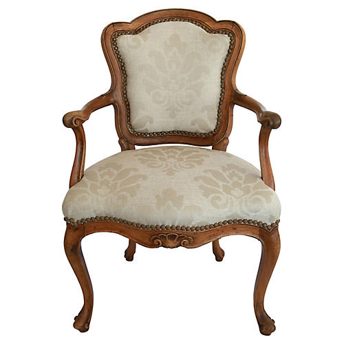 Provincial Upholstered Walnut Armchair