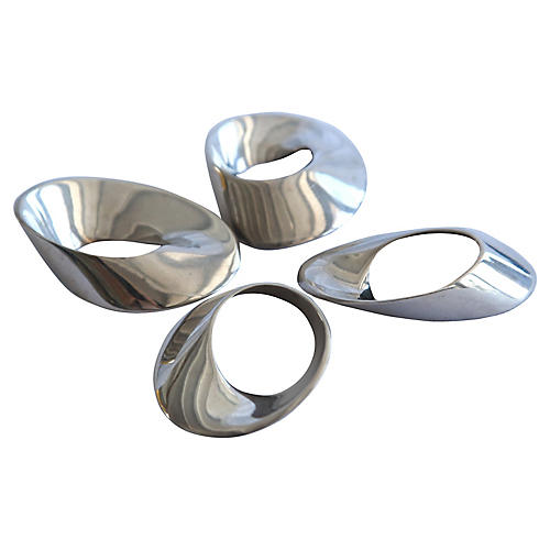 1960s Asymmetrical Napkin Rings, S/4