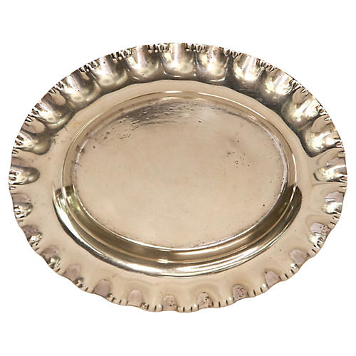 Oval Silver Ruffled Ring Tray