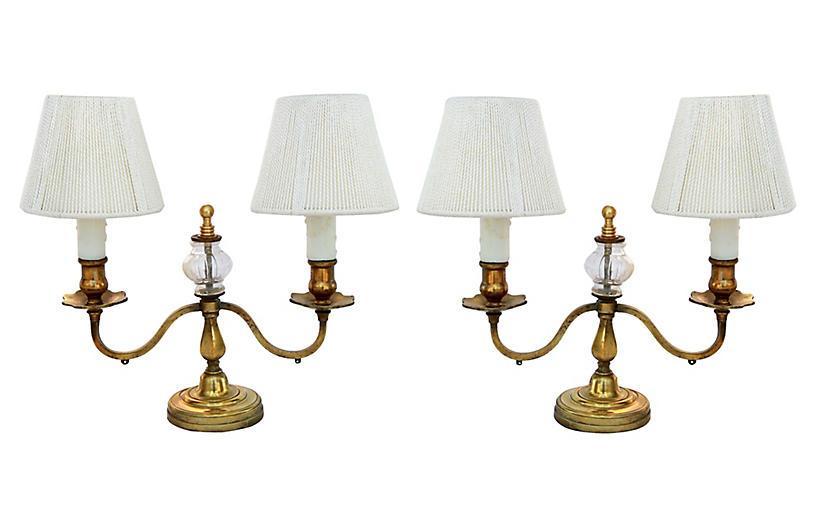 Brass & Glass Candelabra, Pair