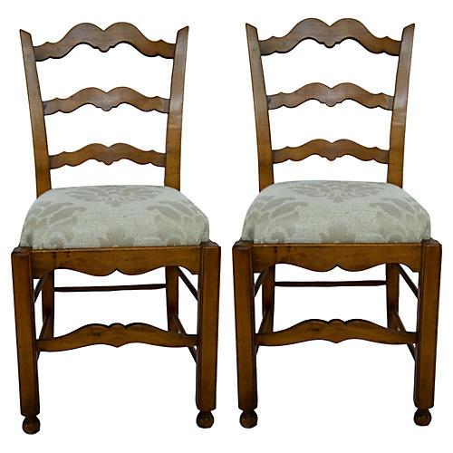 Pecan Ladderback Chairs, Pair