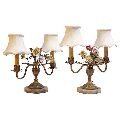Bronze Floral Table Candelabra, Pair