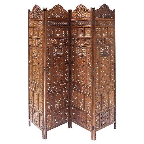 Hand Carved 4 Panel Room Divider