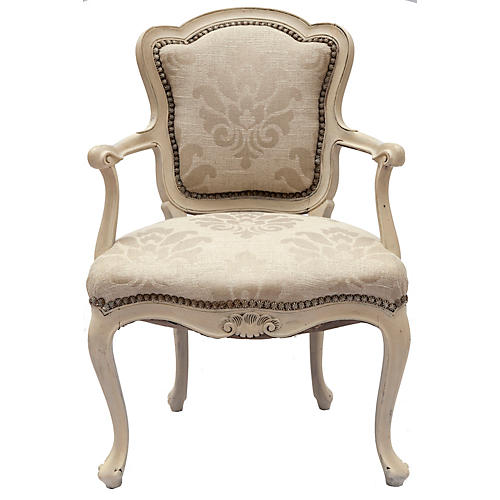 Handpainted French Bergère Chair
