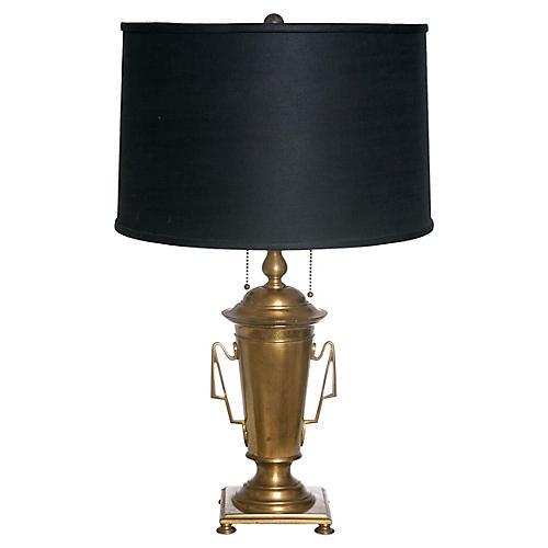 Neoclassical Brass Lamp /Black Shade