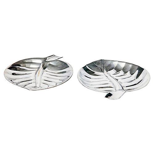 Silverplate Leaf Trays, pr.