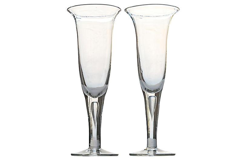 Handblown Glass Vases, S/2