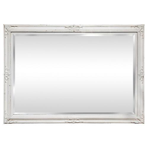 Large Provincial White Beveled Mirror