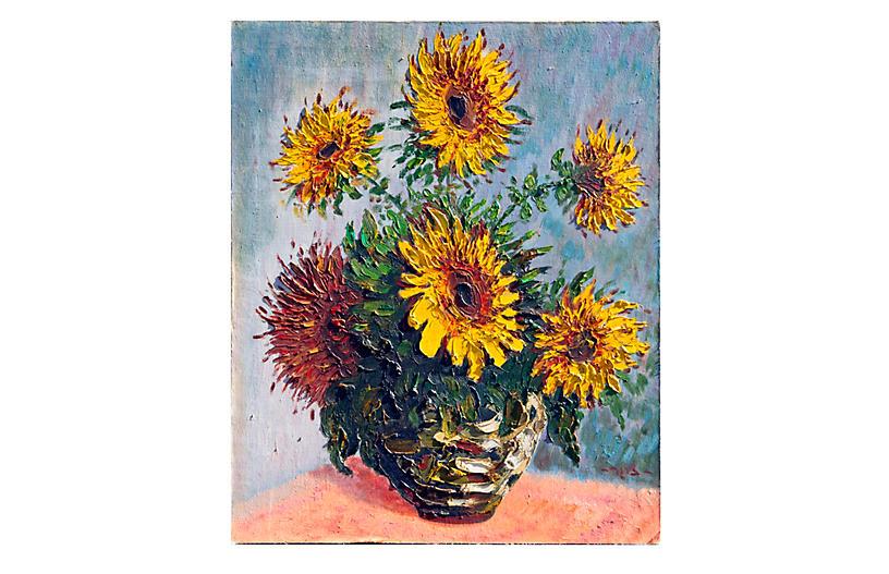 1960's Sunflower Acrylic Painting