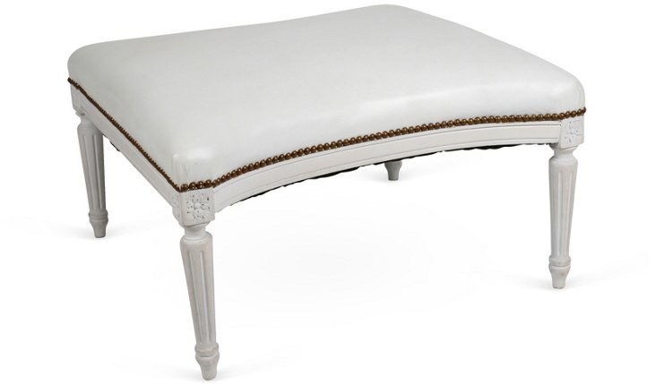 White Leather-Top Bench