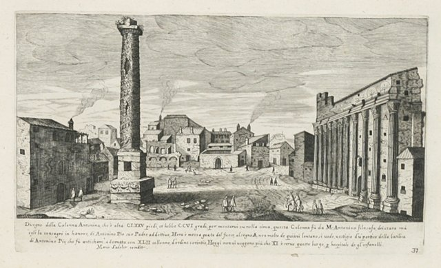 Roman Engraving Colonna Antonina,  1660