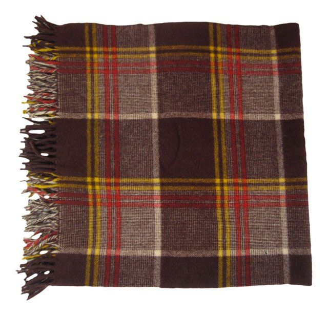 Brown Plaid Wool Blanket