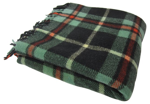 Green & Black Plaid Throw