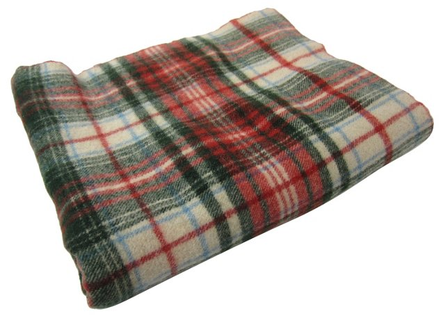 Red & Green Wool  Plaid Throw