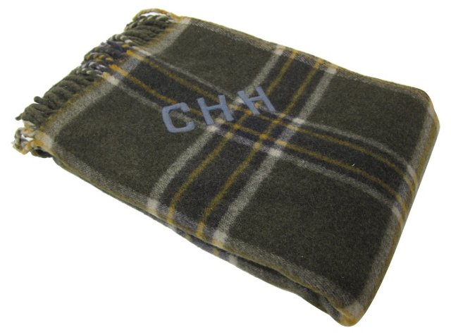 Monogrammed Olive Wool Plaid Throw