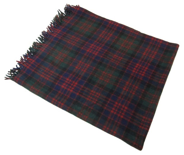 Navy, Green & Red Plaid Blanket