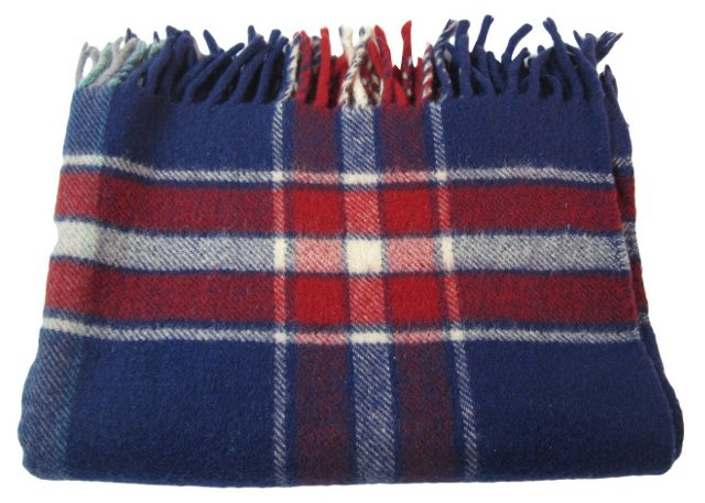 English Blue & Red Throw
