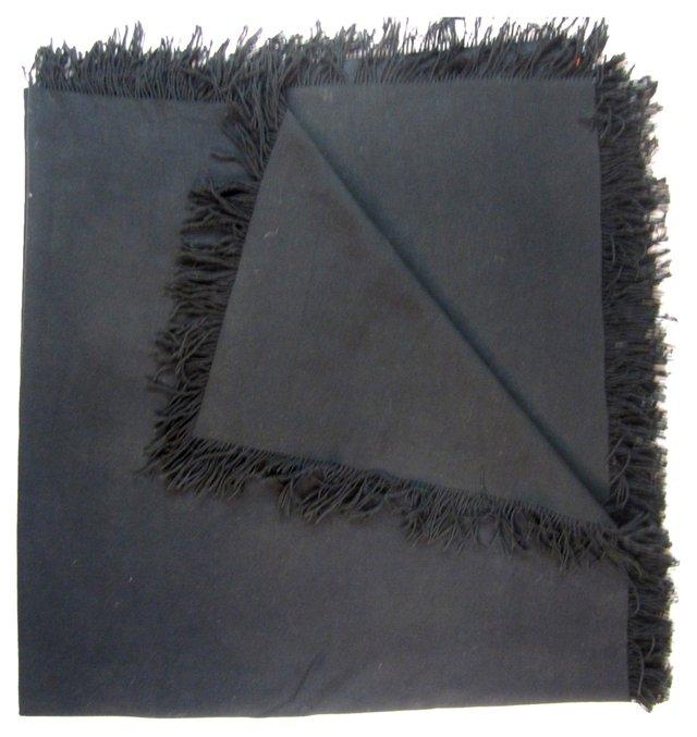 Black Challis Wool Throw
