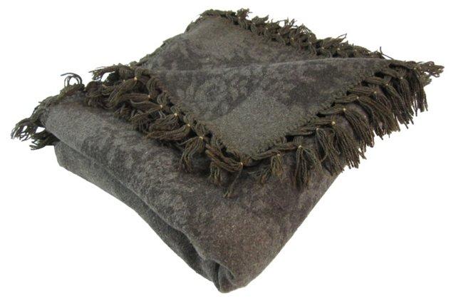 Gray Floral Blanket