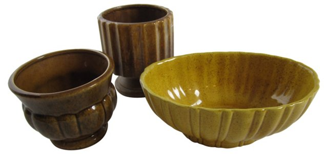 Gold & Brown Pottery, S/3