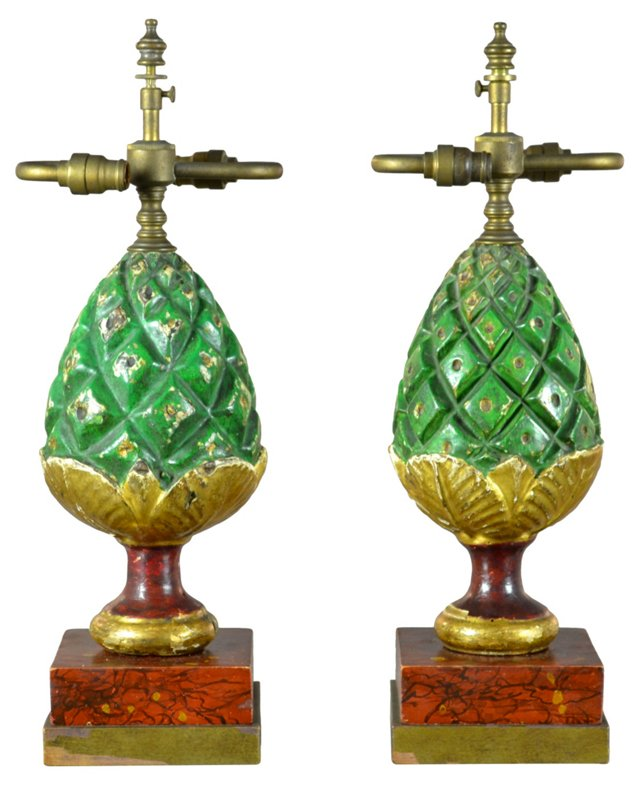 Antique Pineapple Finial Lamps, Pair