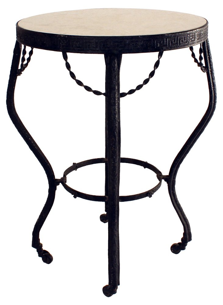 Iron &  Stone Side Table