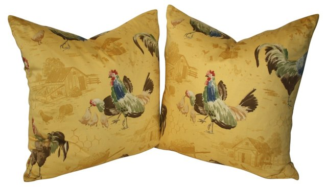 Provence Rooster Pillows, Pair