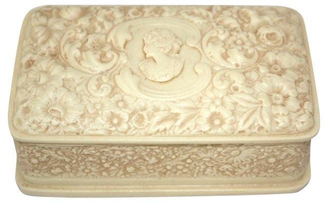 Carved Stone Cameo Jewelry Box