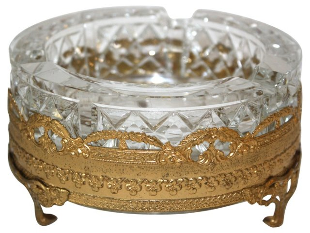 Italian Gilt & Crystal  Pin Dish