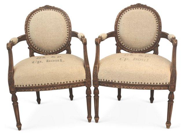Louis XV-Style Armchairs, Pair