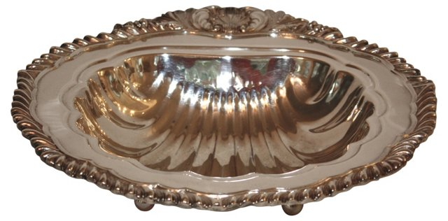 Footed Silver Shell Serving Bowl