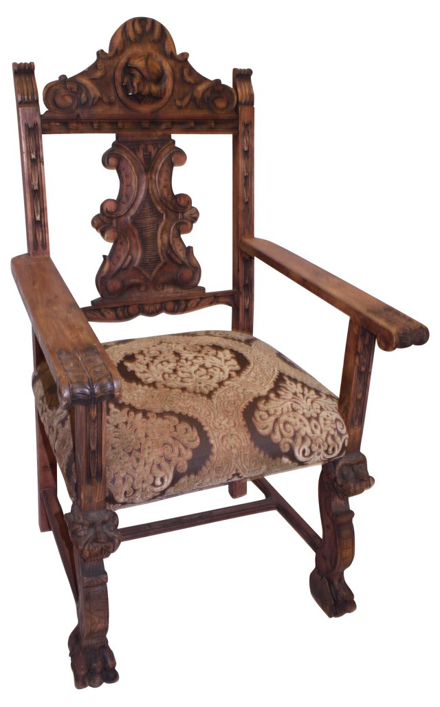 Spanish-Style Carved Throne Chair