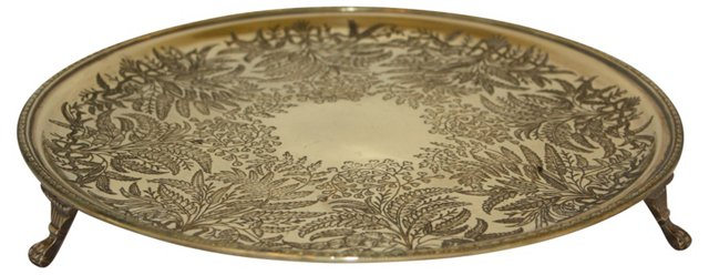 Footed Brass Gallery Tray