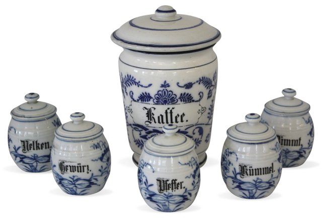 Blue & White Pantry Canisters, S/6